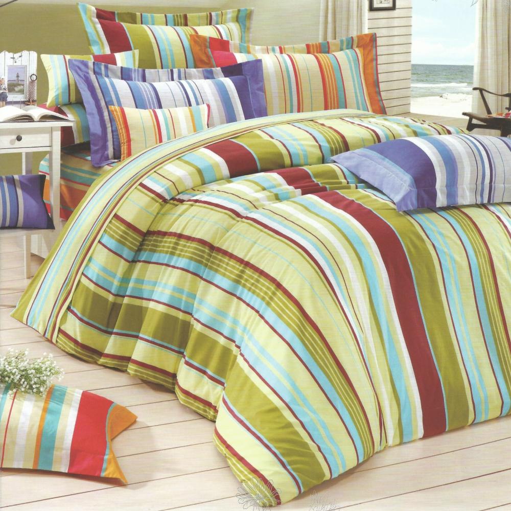 【幾何線條】台灣製造(6.0呎X6.2呎)六件式雙人加大鋪棉床罩組(青草綠)