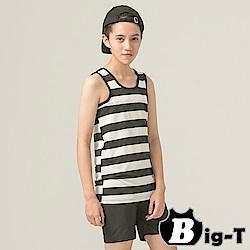 泳衣束胸 黑白寬條紋無袖套頭泳衣褲組(3XL-5XL) BIG-T