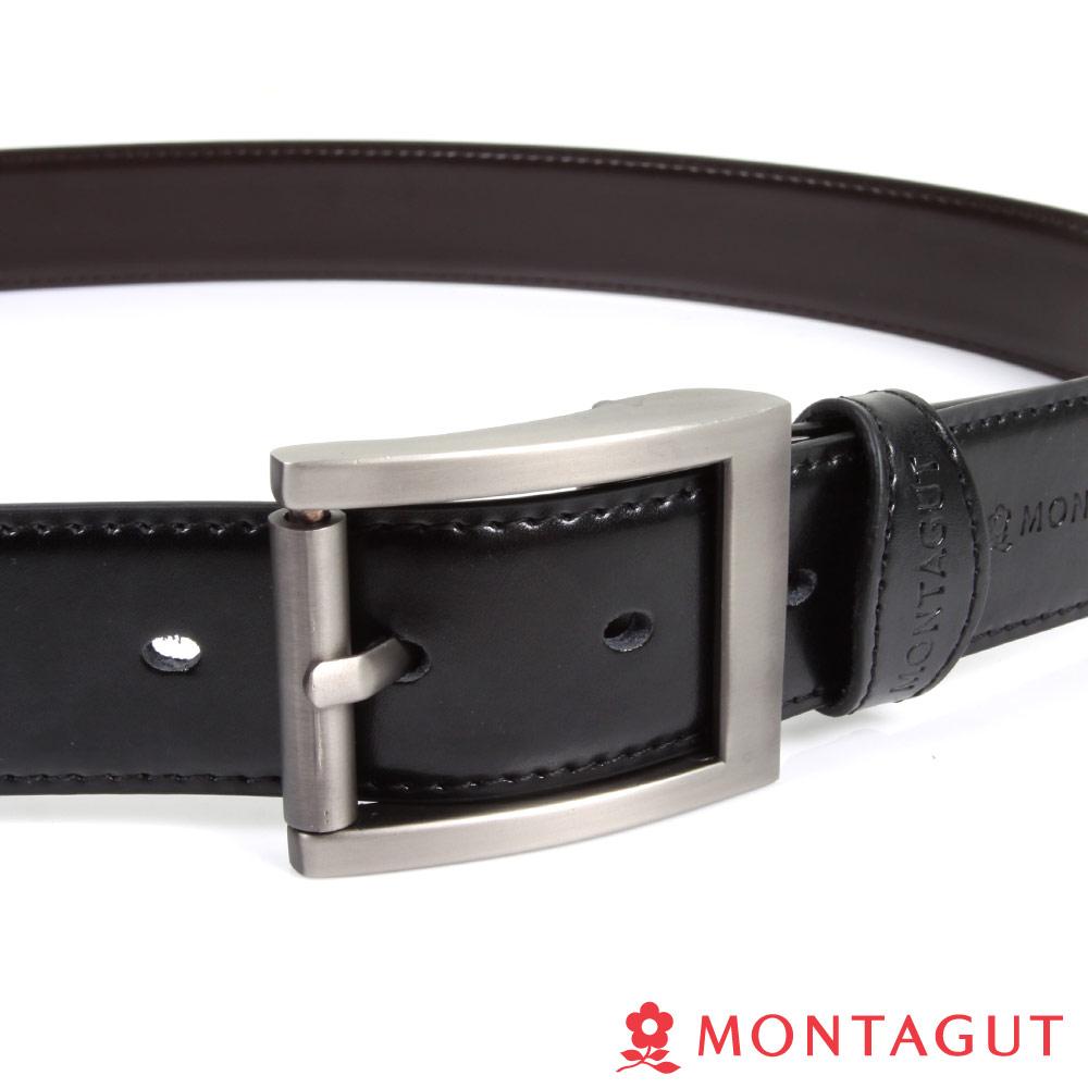 MONTAGUT夢特嬌-雙壓邊方框亮皮-二層牛皮針扣皮帶-895