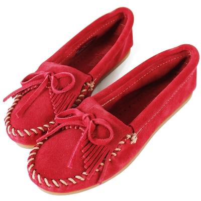 MINNETONKA 紅色麂皮素面莫卡辛 女鞋 (展示品)
