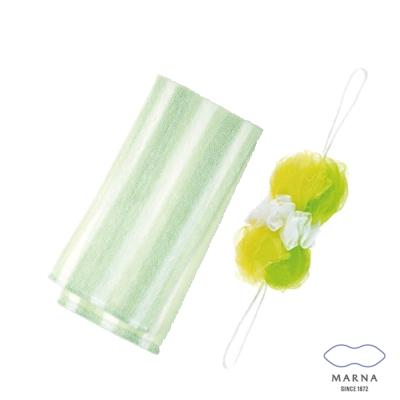 【MARNA】兔尾毛沐浴巾刷背泡泡海綿組(綠)