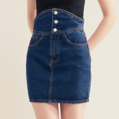 AIR SPACE 高腰排釦設計牛仔短裙(藍)