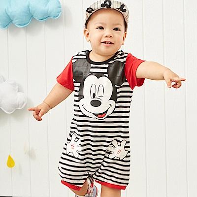 Disney baby 米奇系列歡樂條紋連身裝 (共2色)