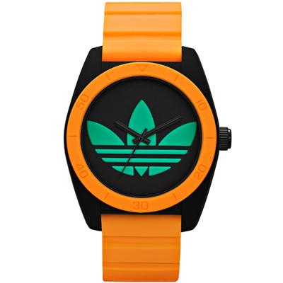 adidas愛迪達時代繽紛撞色三葉草橡膠腕錶-黑橘x綠/40mm