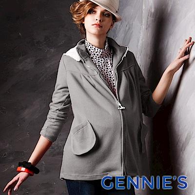 Gennies-010系列-甜美簡約可拆帽休閒外套(T3246) 灰/紅-2色可選