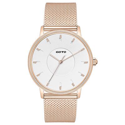 GOTO THINK簡約米蘭時尚手錶-IP玫x白/43mm