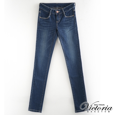 Victoria 後袋剪接燙鑽窄直筒褲-女-深藍