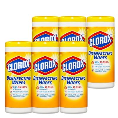 美國CLOROX 高樂氏居家清潔殺菌濕紙巾 檸檬香35片(6入/箱)