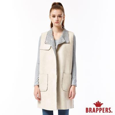 BRAPPERS 女款 麂皮毛呢長版背心-淺卡其