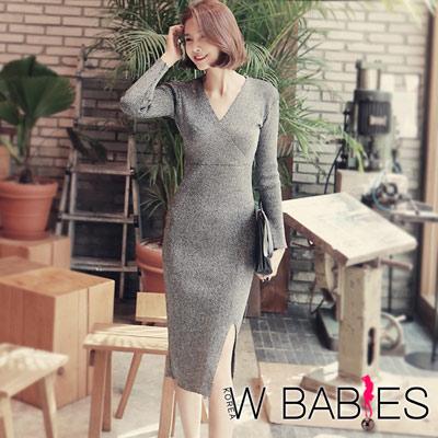 正韓 光澤針織性感V領開衩洋裝 (黑色)-W BABIES