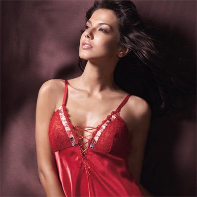 【La Felino】魔鬼誘惑胸前綁帶性感襯衣 (媚惑紅)
