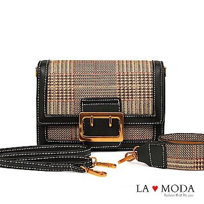 La Moda 大人氣百搭單品千鳥紋肩背斜背小方包(黑)