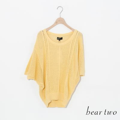 beartwo-不對稱袖透膚寬版針織衫-二色