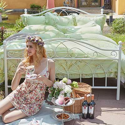 義大利La Belle 花語香頌 雙人天絲四件式防蹣抗菌舖棉兩用被床包組