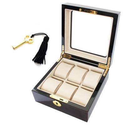 PARNIS BOX 鋼琴烤漆原木6只裝收藏盒 米色內裡 附鑰匙 鋼琴01-2