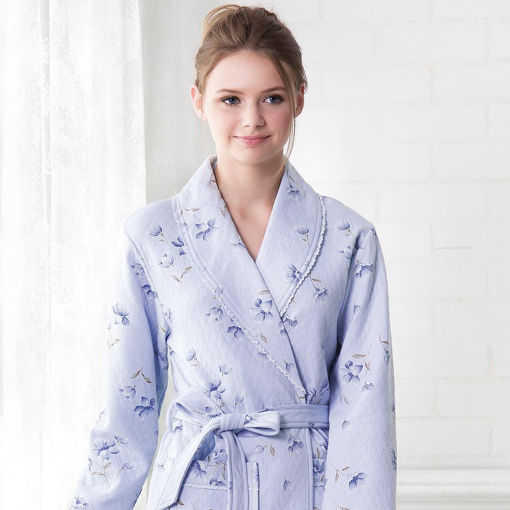 羅絲美睡衣 - 花意蔓延長袖綁帶睡袍(天空藍)
