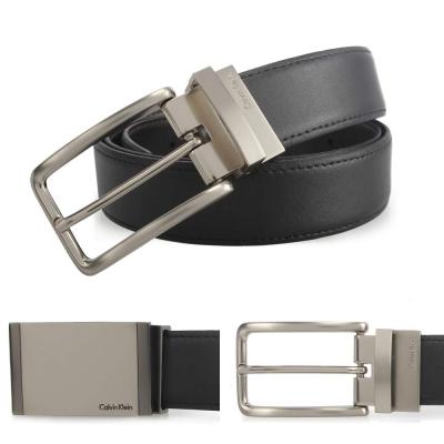 Calvin Klein 素面金屬雙釦雙色皮帶禮盒