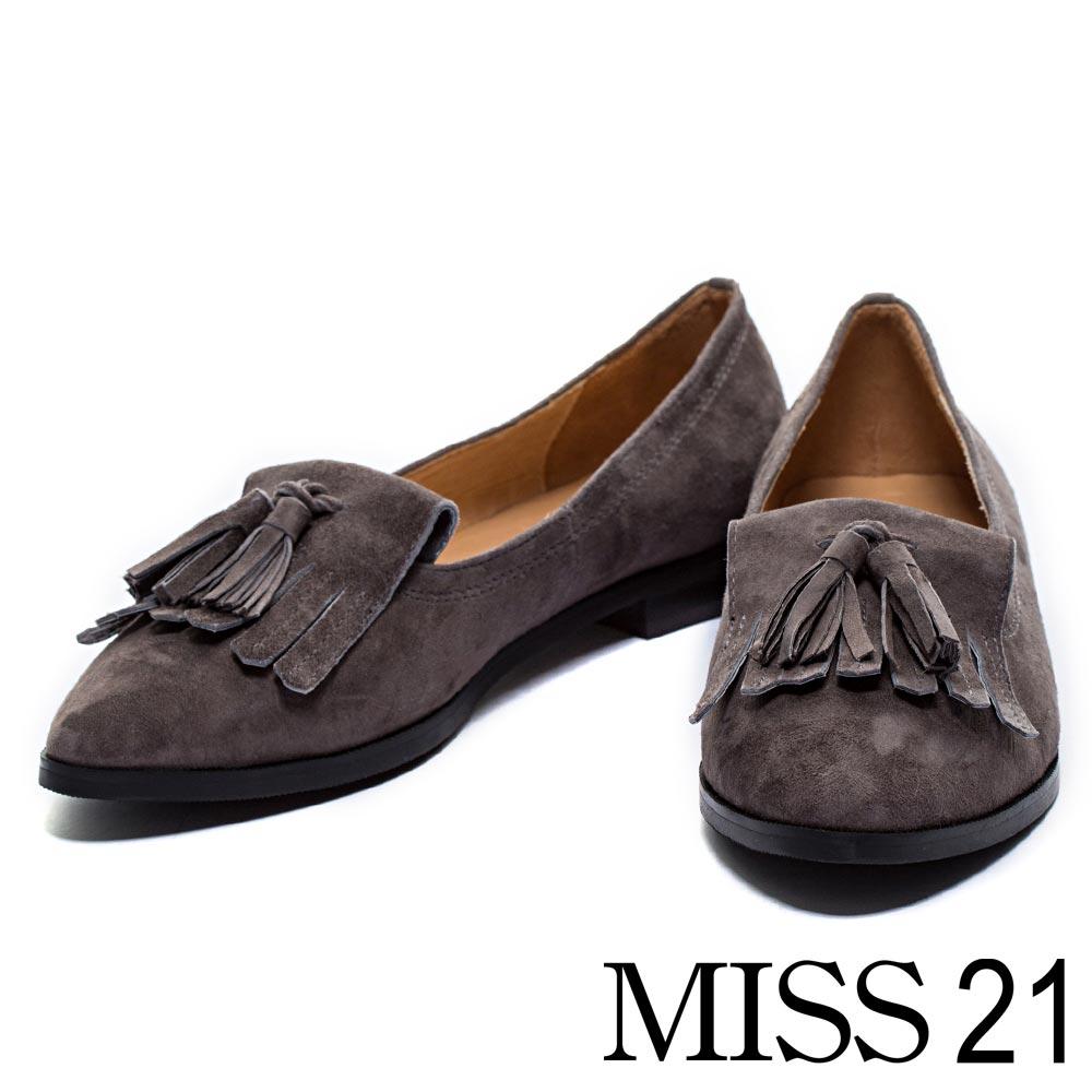 樂福鞋MISS 21復古風尚流蘇羊麂皮平底尖頭樂福鞋-灰