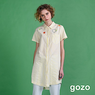 gozo 幾何刺繡圖形長版襯衫洋裝(二色)