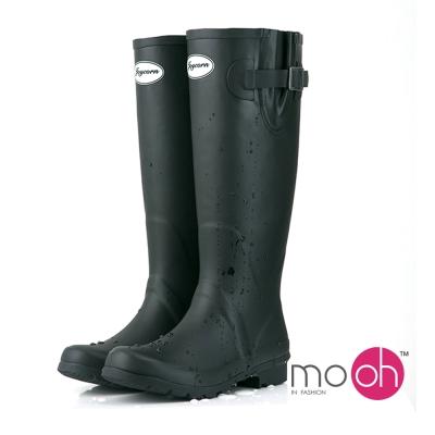 mo.oh愛雨天-素面橡膠顯瘦皮帶扣長筒雨靴-黑色
