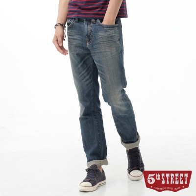 5th STREET 窄直筒1965刷色純棉牛仔褲-男-拔洗藍