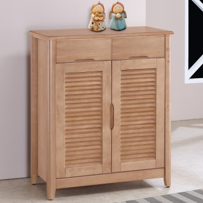 Homelike 泰森2.8尺百葉鞋櫃-原木色-84x43x103cm