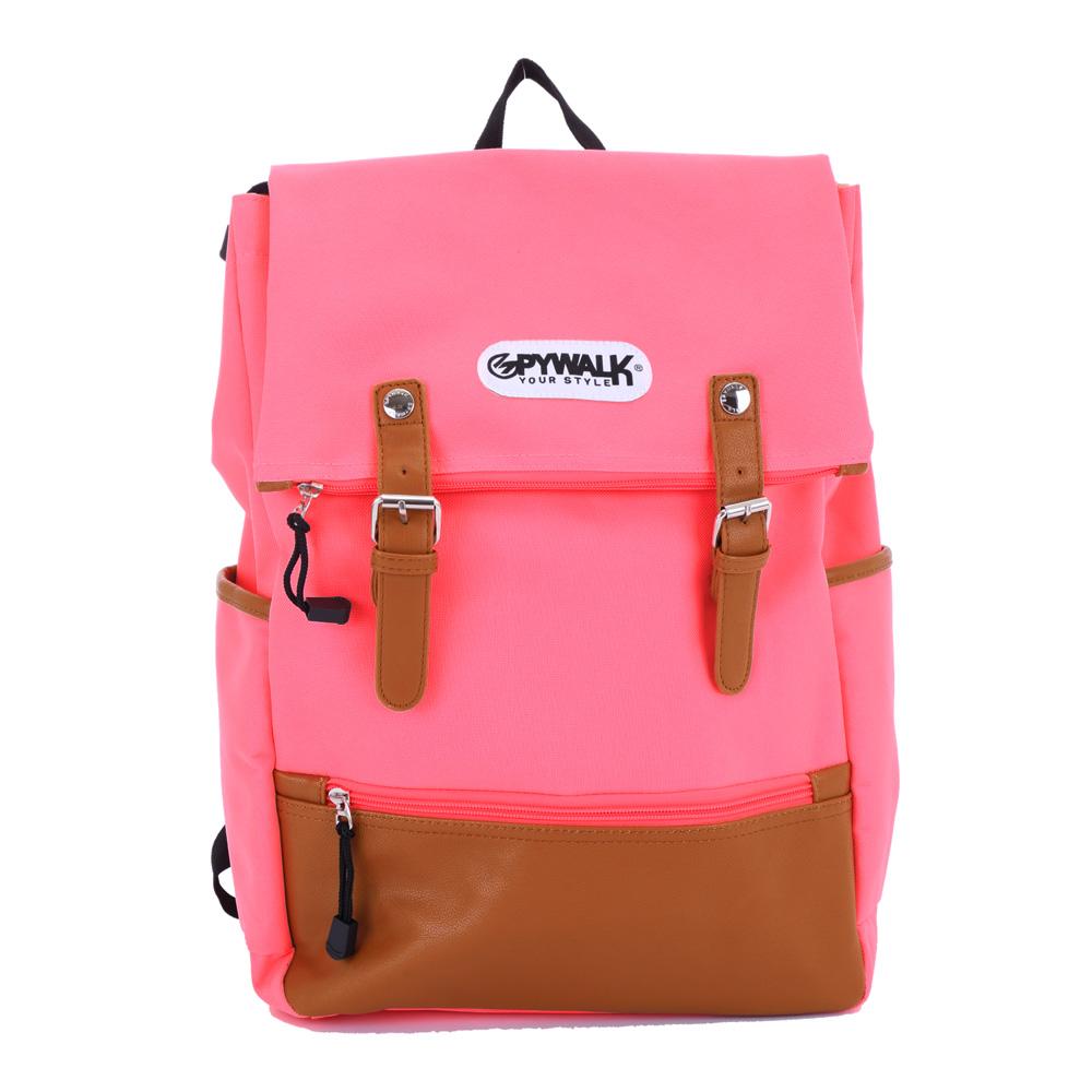 DF Queenin日韓 - 韓式文藝休閒風雙皮飾大容量後背包-共4色