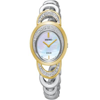 SEIKO 太陽能 璀璨年代 珍珠貝手鍊式鑽錶(SUP296P1)-銀x金/23mm