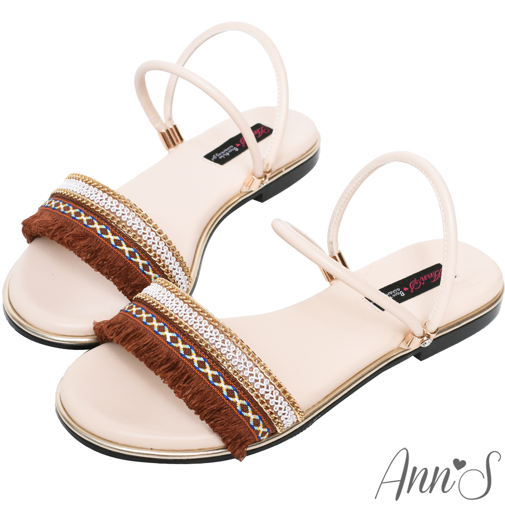 Ann'S波西米亞流蘇兩穿寬版平底涼鞋-白
