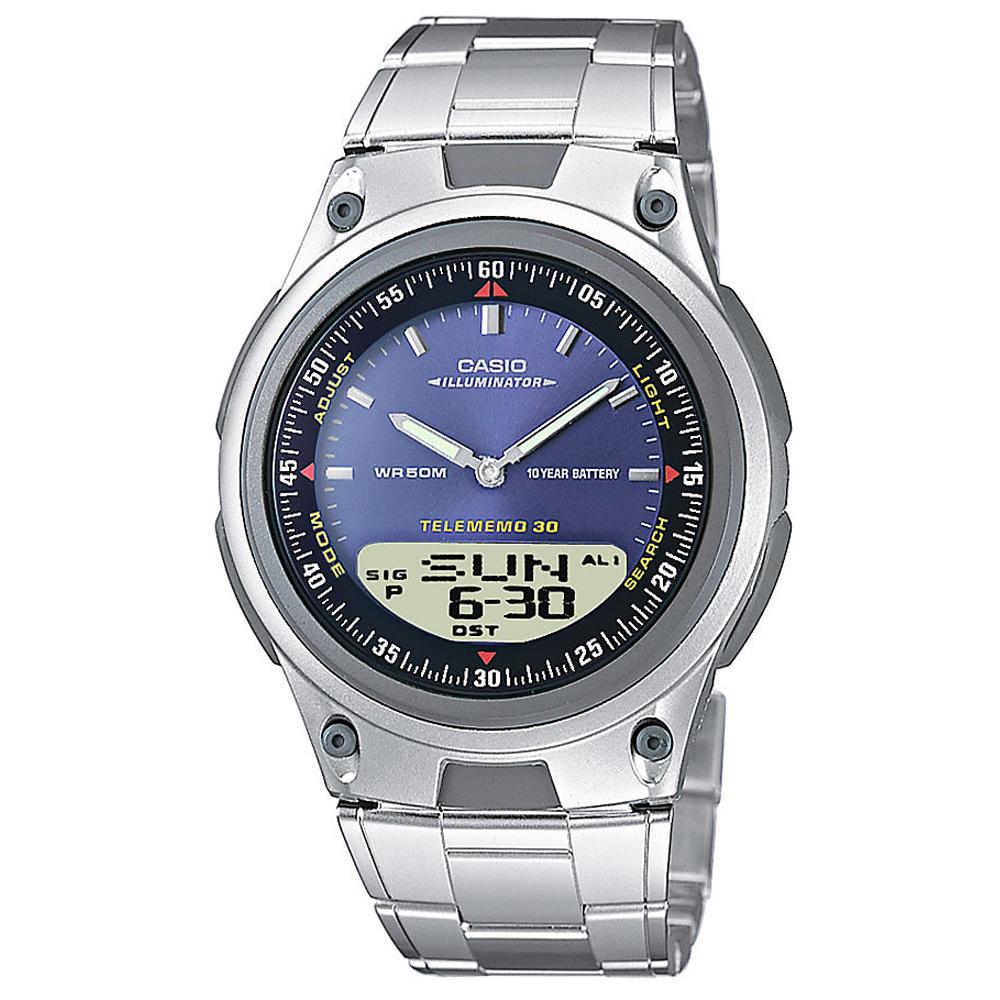 CASIO 都會時尚雙顯腕錶(AW-80D-2A)-藍/40mm