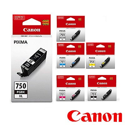 Canon 原廠六色高容墨水(PGI-750XL/CLI-751XLBK/C/M/Y/GY