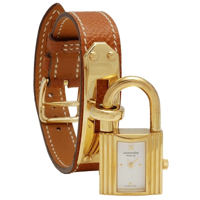 HERMES Kelly系列經典金色鎖頭荔枝紋小牛皮單圈石英女仕錶(咖啡金-20.5cm)