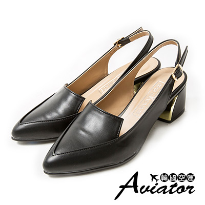 Aviator*韓國空運。正韓製氣質女伶顯瘦尖頭金扣包涼鞋-黑