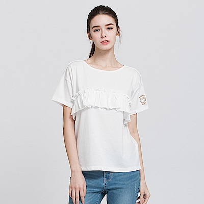 Hang Ten - 女裝 - Hello Kitty荷葉抓摺T恤-白色