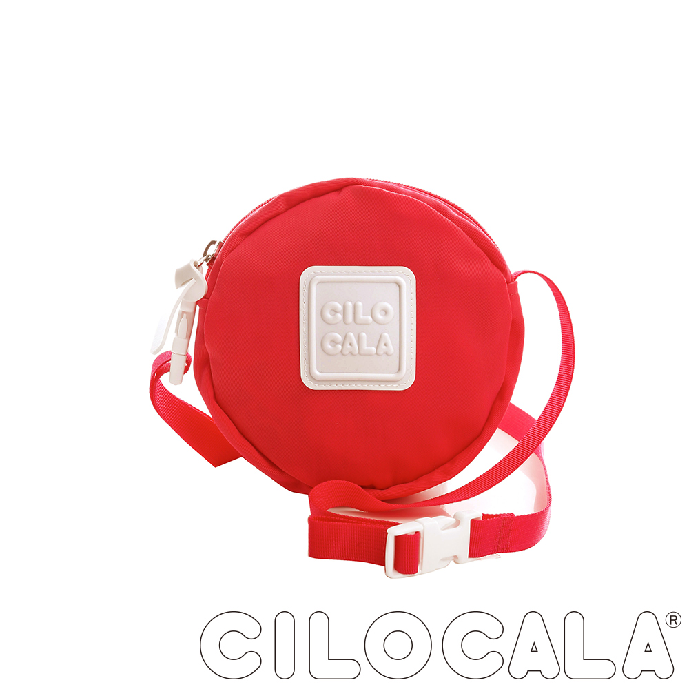 CILOCALA 亮彩尼龍防潑水斜背小圓包  紅色