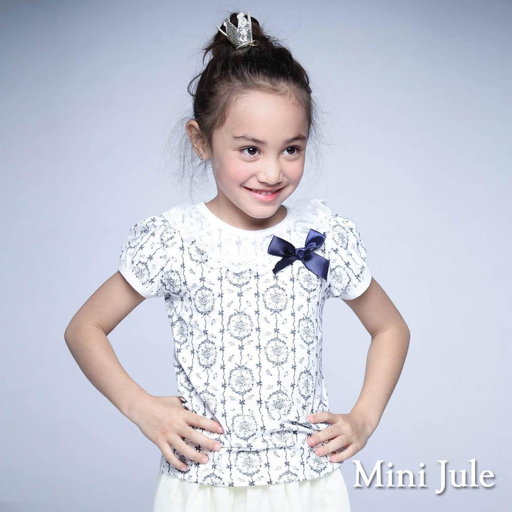 Mini Jule-上衣 滿版花圈紋蕾絲領蝴蝶結上衣(白)