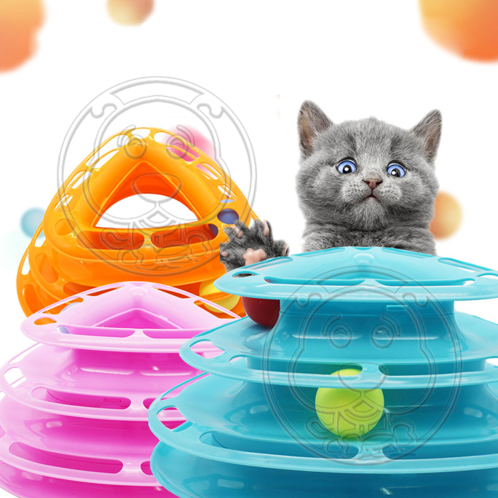 DYY》3way貓用三層益智瘋狂遊樂盤貓玩具