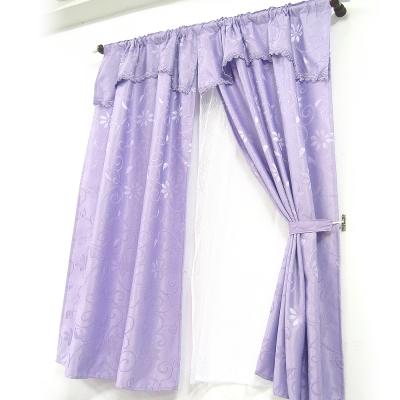 布安於室-經典緹花雙層穿管式落地窗簾-紫色