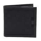 GUCCI 經典GG帆布牛皮飾邊摺疊零錢袋短夾(黑_3卡)