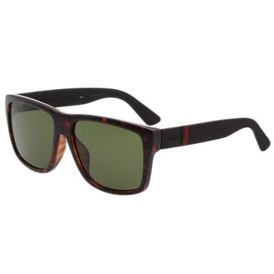 GUCCI- 紅綠腳 方框帥氣款 太陽眼鏡 (琥珀色)