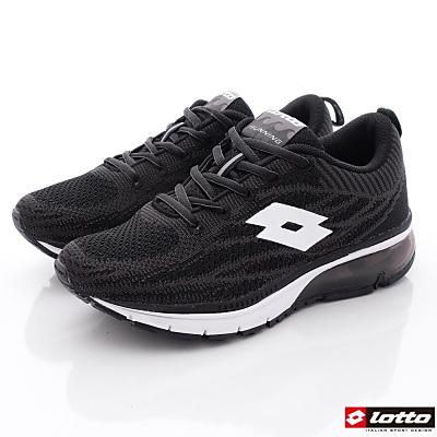 Lotto樂得-編織氣墊跑鞋款-MR3280黑(女段)N