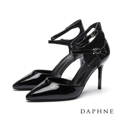 達芙妮DAPHNE-高跟鞋-雙環踝帶中空漆皮尖頭鞋