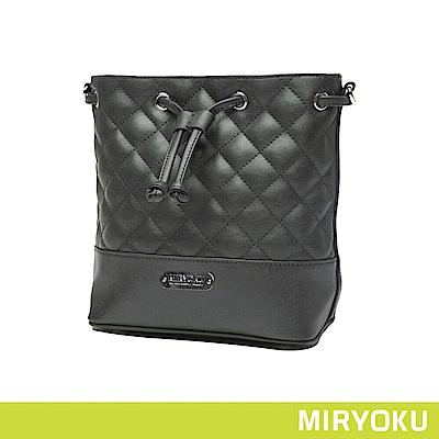 MIRYOKU / 時尚菱格紋車線水桶包(共3色)