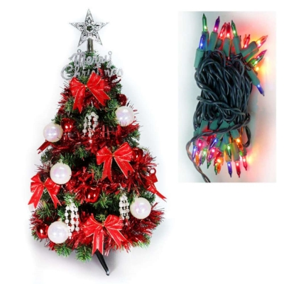 台製2尺(60cm)綠聖誕樹(白五彩紅系配件)+50燈鎢絲彩色