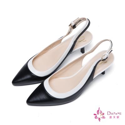 達芙妮x高圓圓 圓漾系列雙環扣帶拼接撞色高跟鞋-知性醇黑