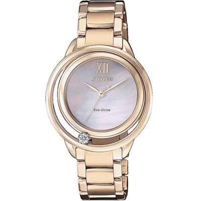 CITIZEN L光動能星星閃耀晶鑽腕錶(EW5513-80D)-玫瑰金色/32.5mm