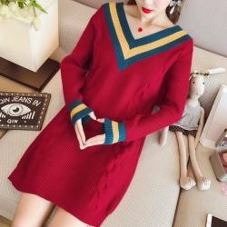 La Belleza大V領箭線型雙色滾邊麻花長版針織毛衣