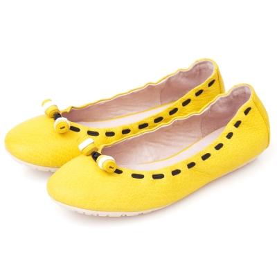 G.Ms.  輕甜造型-小羊皮撞色穿繩娃娃鞋-萊姆黃