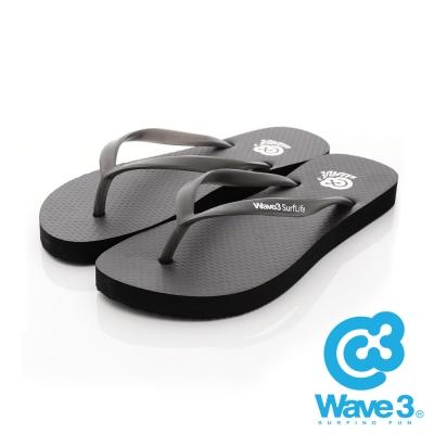 WAVE 3 (女) 彈力果凍 基本款素色人字夾腳拖鞋 - 晶亮黑