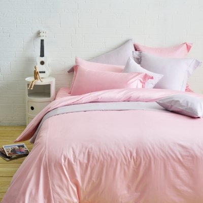 Cozy inn 極致純色-珠光粉-300織精梳棉四件式被套床包組(加大)